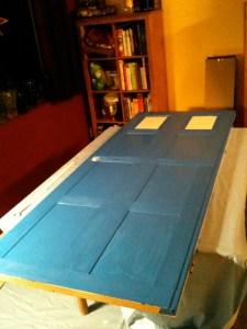 Door after first coat of paint.