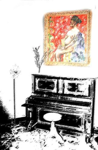 El piano del Quindós, con el cuadro de Luis G. Zurdo.