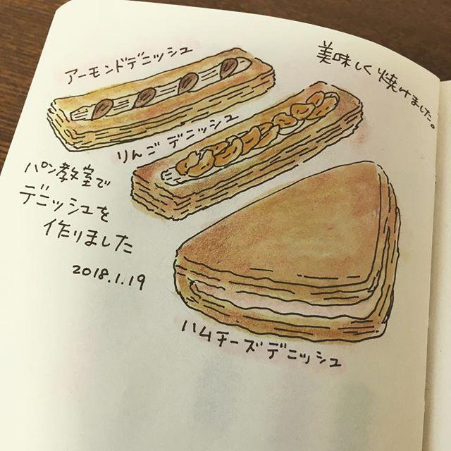自分で作るまでパンはまた違う美味しさがあります #絵日記 #手帳 #MOLESKINE