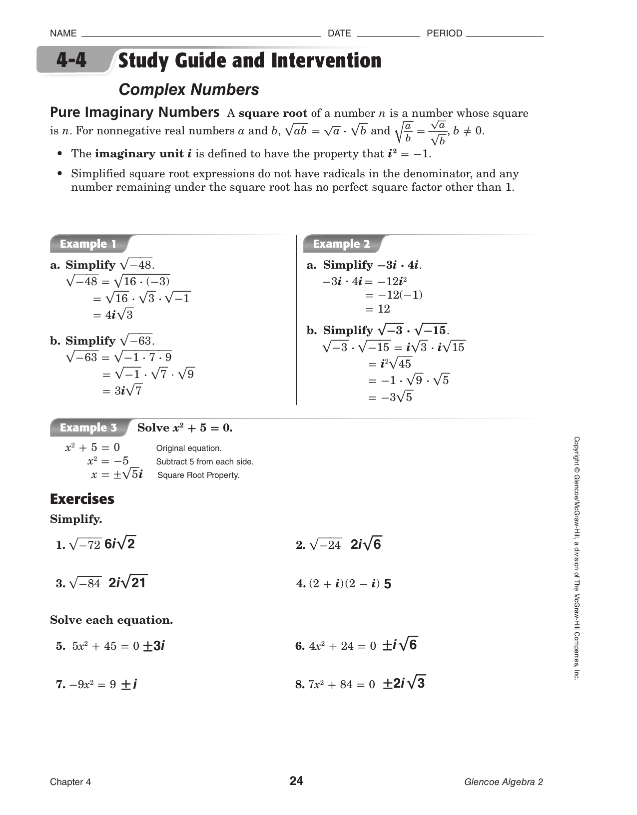 Operations With Imaginary Numbers Worksheet Answers