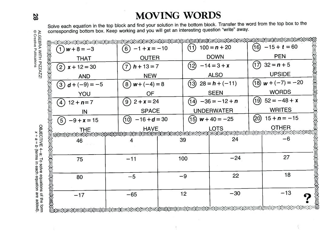 Algebra With Pizzazz Worksheet Answers Page 38