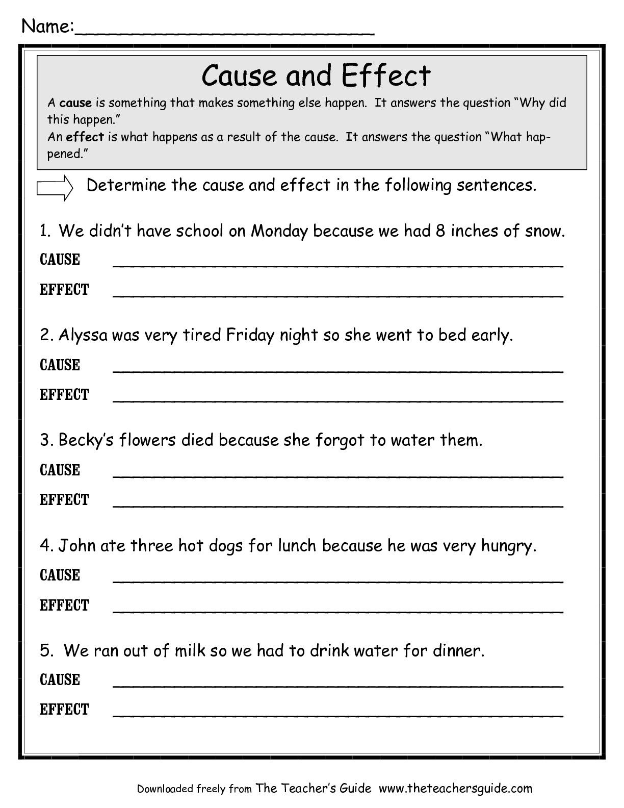 Cause Effect Worksheets Middle School