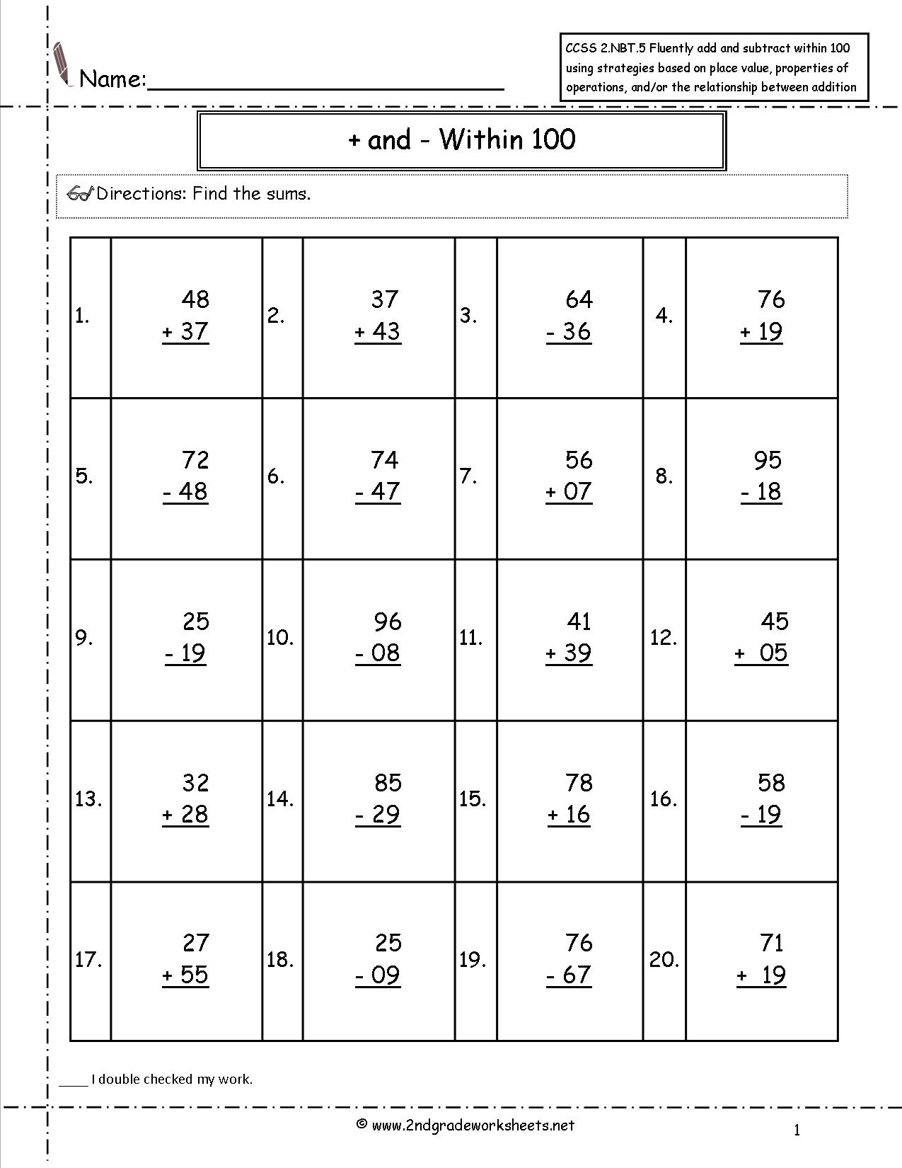 Decomposing Numbers Second Grade Worksheets