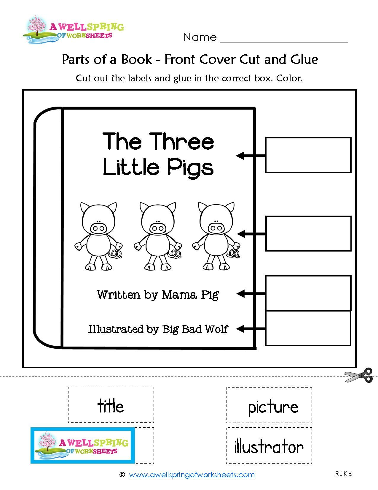 Parts Of A Book Worksheet For Kindergarten