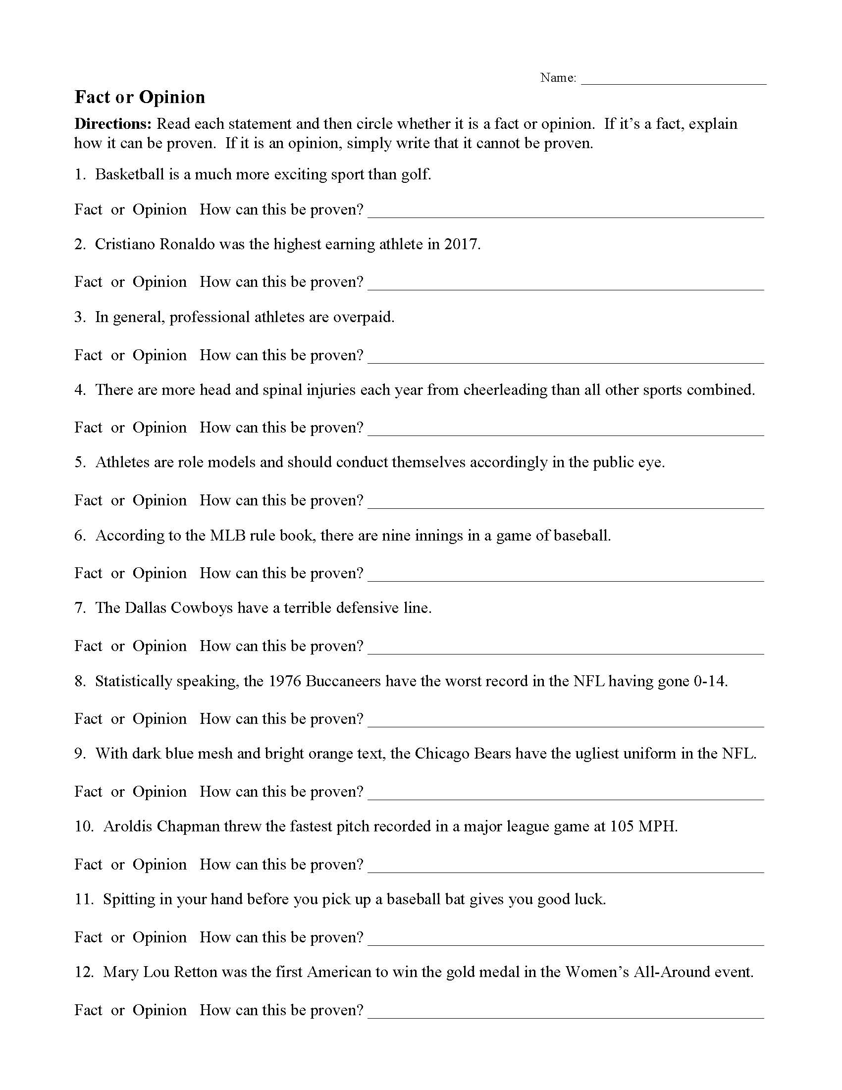 Fact Opinion Worksheet Middle School