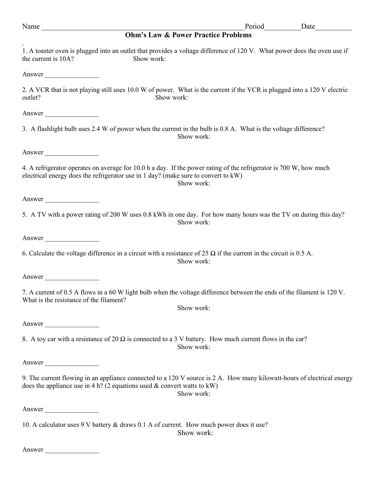 Ohm S Law Worksheet Middle School
