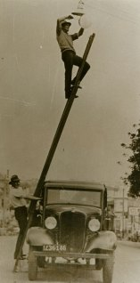 Changing Street Light Bulbs, 1933