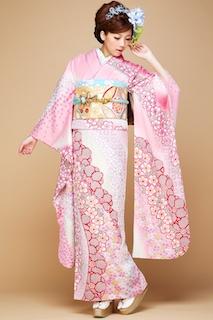 ピンク色の成人式の振袖2