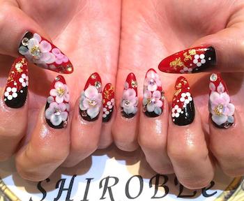 成人式の赤の人気ネイルデザイン4(赤×桜×黒)