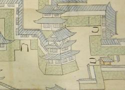 絵図の伏見櫓(水野期の絵図:福山城下御家中町絵図)