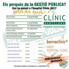 La Clínica privada Barnaclínic SA està dirigida per un Consell d'Administració del qual en formen part la majoría de càrrecs directius del mateix Hospital Clínic. Més informació a empresia.es i a hospitalclinic.org