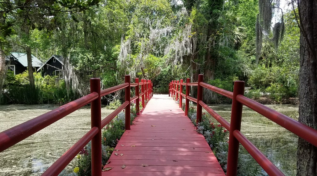 Red bridge at Magnolia Gardens