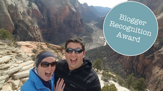 Tiago and I at Zion National Park, so excited that I was nominated for the blogger recognition award