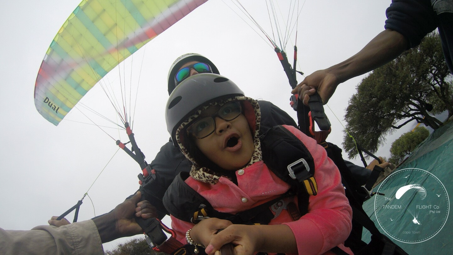 child tandem paragliding in cape town