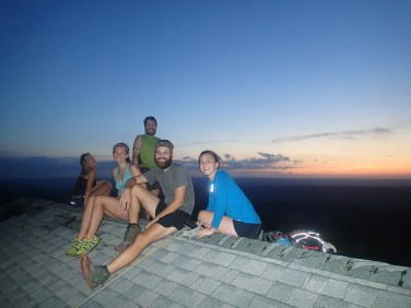 Watching the fireworks from on top of the pavillion at Sunrise Mt. with our friends Simon and Steph.
