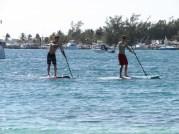 Paddleboarding off the mini-beach