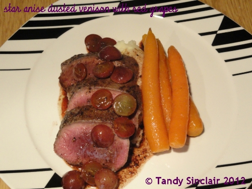 Star Anise Dusted Venison With Red Grapes