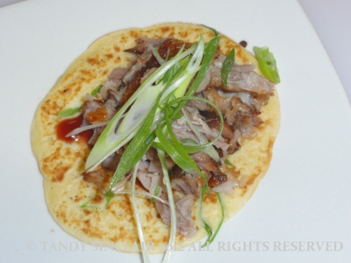 spring onion pancake with roast belly of pork
