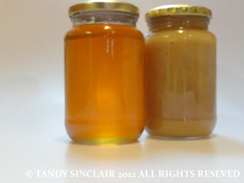 In My Kitchen August 2012 is honey from my friend's bees - one creamed naturally August 2012