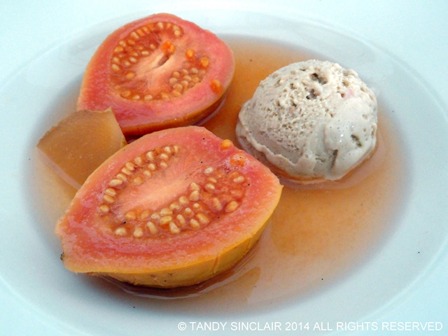 """Poached Guavas With Guava Ice Cream"""