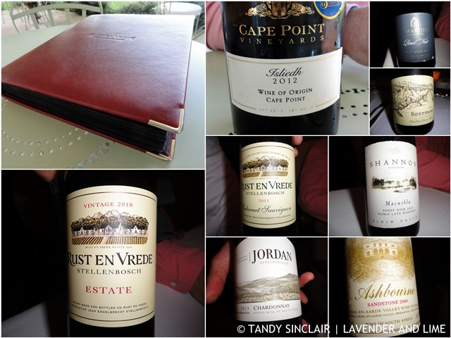 The wines and wine list at Rust en Vrede
