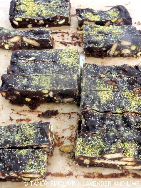 Mint And Pistachio Chocolate Fridge Cake
