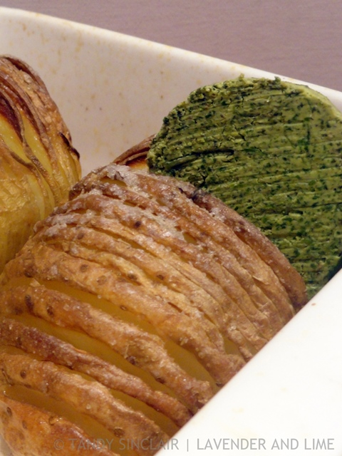 Hasselback Potatoes With Coriander Butter