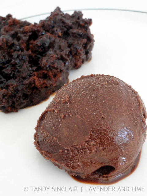 Chocolate Sorbet With Chocolate Stout Pudding