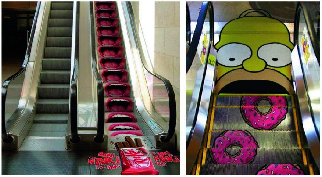 marketing guerrilla escaleras mecanicas