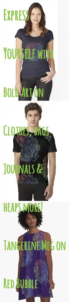 """Tall image with 3 people wearing clothes printed with Tangerine Meg design """"rainbow flowers"""" and hand-written looking font for header text"""