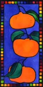 Image for testimonial page: Lino Print of three vibrant orange mandarins, with a blue background and a rainbow border