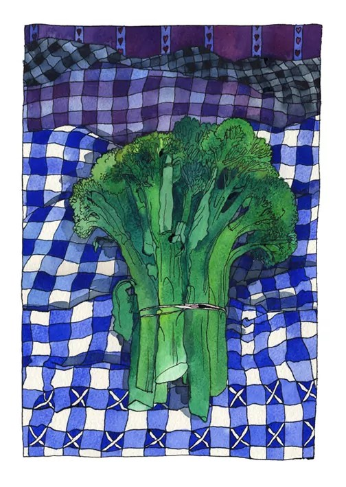 green broccoli on blue and white gingham