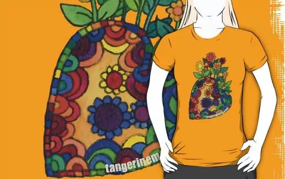 right-leaning heart garden on an orange tshirt
