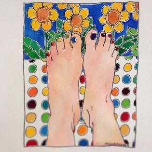 25 of 50_BirthdayBoldArtProject_rainbow-toes and spotty fabric and yellow flowers