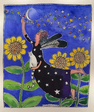 grey haired angel flying above the moon flowers and with a cat companion