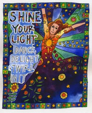 woman in a cosmic dress delighting in her own light, radiating
