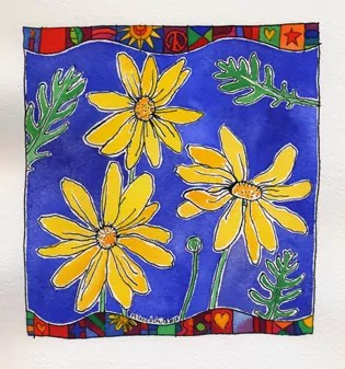 Yellow Daisies, green leaves, and a blue background