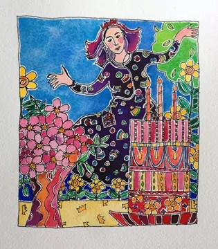 50th painting of my 50th Birthday Bold Art Project_QueensBirthday - the Queen dances in her happy patterned dress, alongside pink flowers and a very tall fancy pink cake