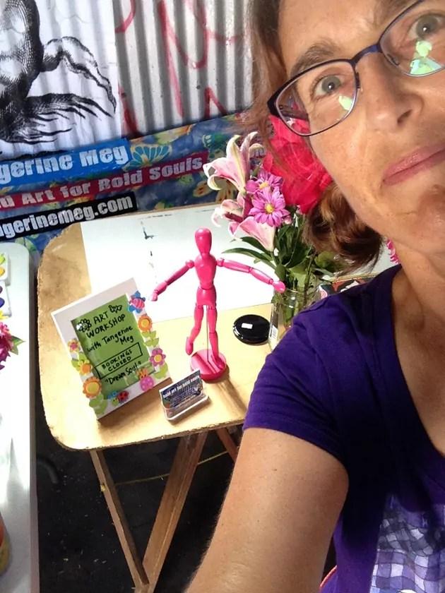 Tangerine Meg photographic self portrait ready and set up for art workshop Feb 2016