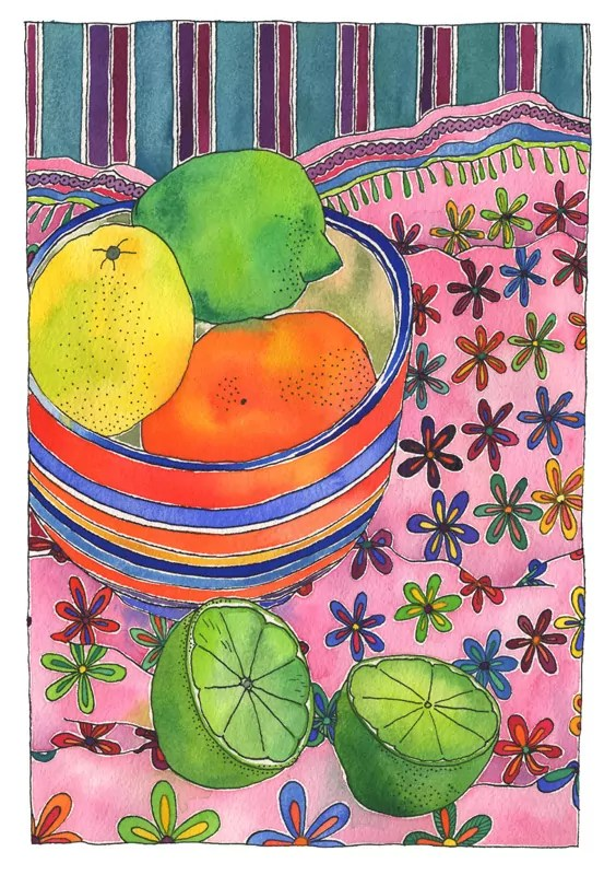 Watercolour still life, featuring limes lemon and mandarin, in and beside a striped bowl, nestled onto a pink clothe with colourful fower pattern