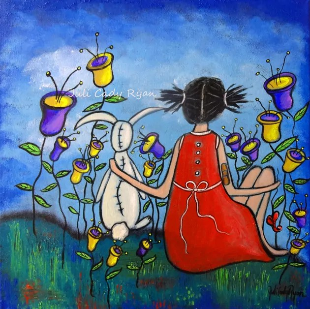 girl in meadow with rabbit friend; painting by Juli Cady Ryan
