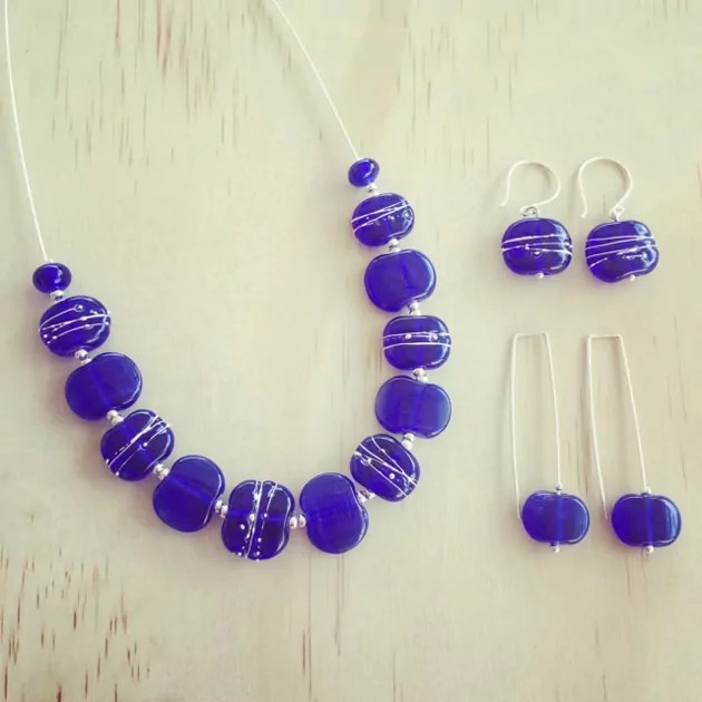 ultramarine blue glass hand made necklace and earrings set