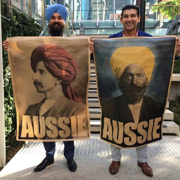 2_Muslim_2_Sikhs_4_Aussies_Perth_Harjit_and_Affy_Aussie_Posters_Peter_Drew
