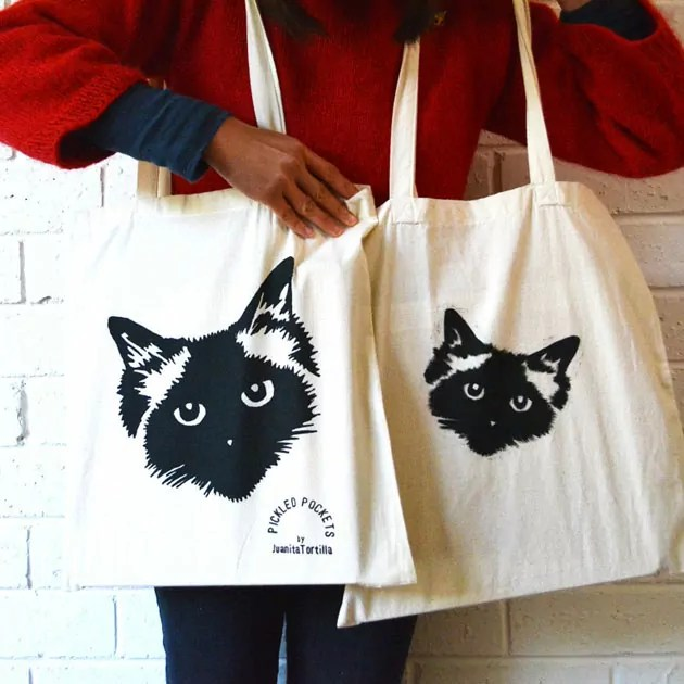 Tote bags with Pickle prints by Juantia Tortilla