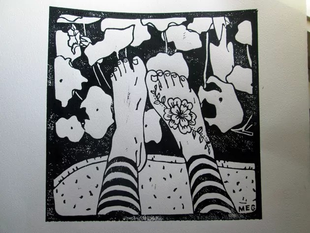 black ink printed on white paper of Spring Feet