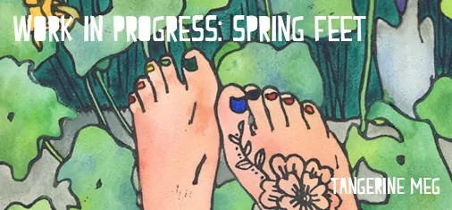 "lino print artwork of 2 pale feet in a garden. Chunky type declares ""Work in progress: Spring Feet"""