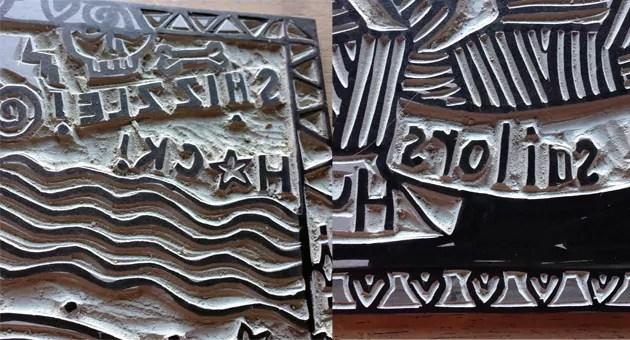 2 panels of close up of lino blocks; both with backwards writint