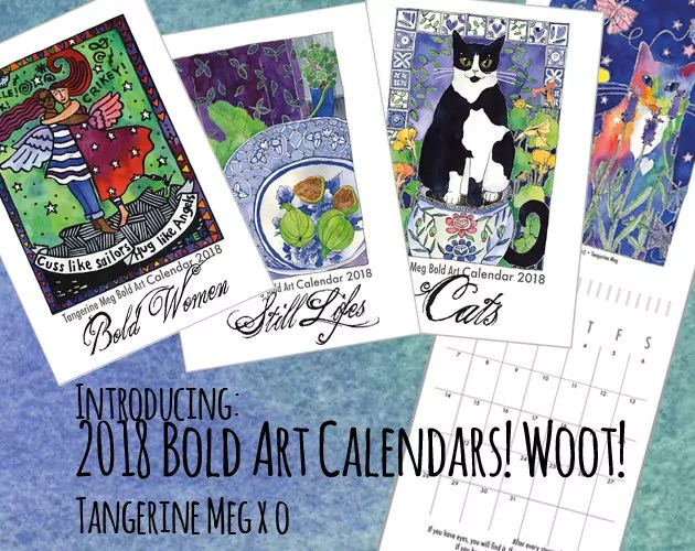 """Header image backed by watercolour blues, with 3 vibrant art calendar covers and one open calendar. The covers read """"Bold Women"""", """"Still Life"""" and """"Cats""""."""