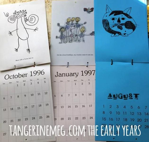 Three open calendars featuring children's art