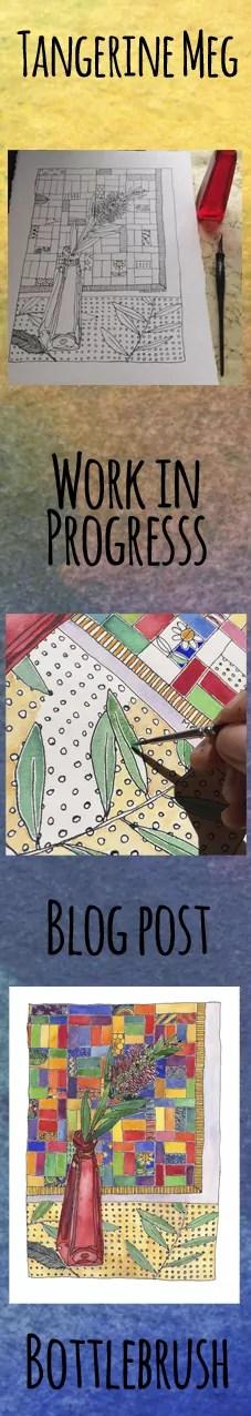 work in progress bottlebrush painting header, in tall format for pinterest